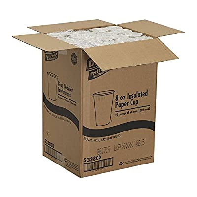 Georgia-Pacific Dixie PerfecTouch 5338CD Coffee Design Insulated Paper Hot Cup, 8oz (Case of 20 Sleeves, 50 Cups per Sleeve)