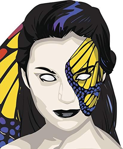 EW Designs Creepy Halloween Face Make Up Butterfly Art Woman Cartoon Vinyl Decal Bumper Sticker (8