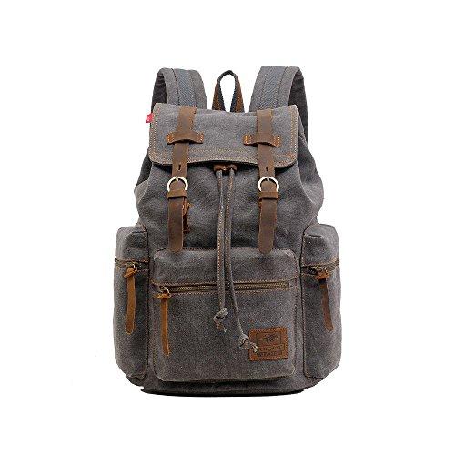 VRIKOO Unisex Casual Canvas Leather Backpack Shoulder Laptop Bag Daypacks for School Travel (Grey) Gris