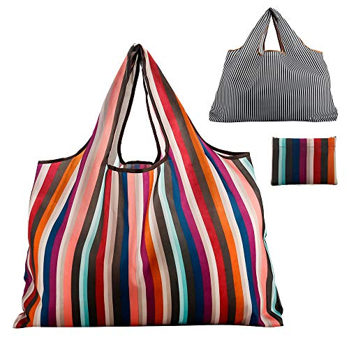 Reusable Grocery Bag Gophra 2 Packs Large Washable Foldable Eco Friendly Nylon Heavy Duty Fits in Pocket Shopping Tote Bag (2018 New Rainbow)