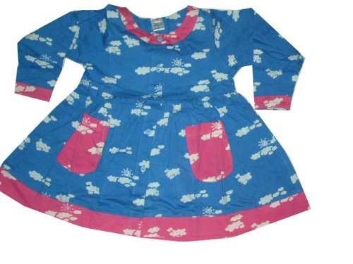 Blue Clouds Cotton Knit Long Sleeve Girls Dress