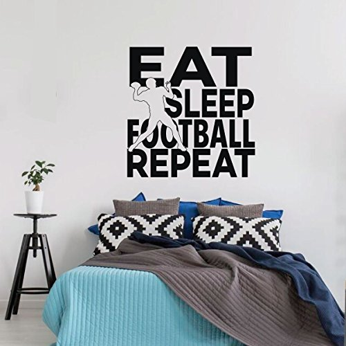 Football wall Decal - Eat Sleep Quote Decor - Vinyl Art Sticker for Girl's Bedroom Decor, Playroom or Game Room Decoration