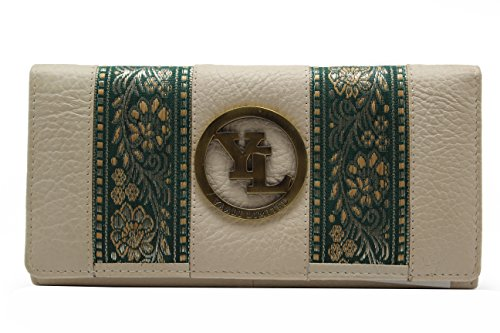 yl-womens-genuine-leather-clutch-wallet-purse-hipster-embroidery-lace-yl-21-beige