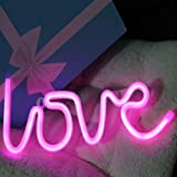 Neon Signs Love Letters Pink LED Decorative Night Light for Bedroom Wall décor Light for Wedding Valentine's day Pub Battery Operated and USB Powered Neon Light(NELOV)