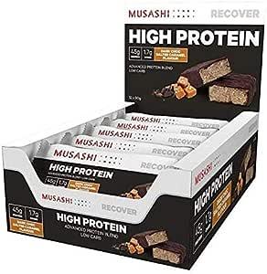 MUSASHI P45 Low Carb Salted Caramel High Protein Bar, 12 x 90g