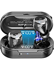 TOZO T12 TWS Bluetooth 5.0 Earbuds 【True Wireless Stereo】 Headphones IPX8 Waterproof in-Ear Wireless Charging Case Built-in Mic Headset Premium Sound with Deep Bass for Running Sport Black