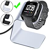 CAVN Compatible Fitbit Versa Charger Dock Stand Cable, Premium Aluminum Charging Cable Cord Station Cradle Base Attached 4.2ft USB Cable Accessories Compatible Fitbit Versa Smartwatch, Silver