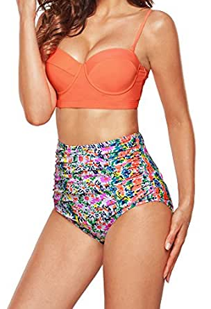 Angerella Push Up Bikinis Swimwear Swimsuits For Women Two Pieces, Multi-colored, US4-6=Tag Size M