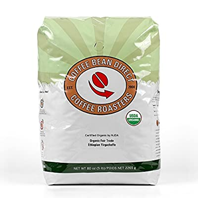 Coffee Bean Direct Ethiopian Yirgacheffe, Organic Fair Trade Whole Bean Coffee, 5-Pound Bag