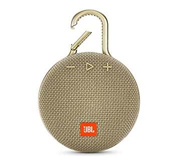 JBL Clip 3 Portable Bluetooth Wireless Speaker Bundle with Dual Port 24W USB Travel Wall Charger – Sand