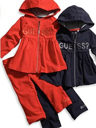 Guess Girls 12-24 Months 2-Piece Logo Skirted Hoodie and Leggings (18M, Navy)