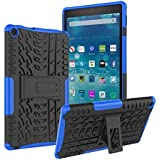 Amazon Kindle Fire HD 8 Tablet Case (7th and 8th Generation, 2017 and 2018 Release), Roiskin Anti-slip Shockproof Excellent Impact Resistance Dual Layer Heavy Duty Protective Case Cover with Kickstand-Blue