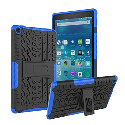 Roiskin Amazon Fire HD 8 Tablet Case (7th and 8th Generation, 2017 and 2018 Release), Anti-Slip Shockproof Excellent Impact Resistance Dual Layer Heavy Duty Protective Case Cover with Kickstand-Blue