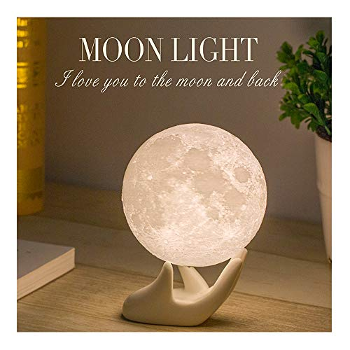Mydethun Moon Lamp Moon Light Night Light Kids Gift Women USB Charging Touch Control Brightness 3D Printed Warm Cool White Lunar Lamp (3.5IN) -