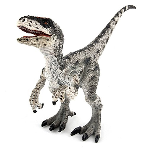 Geminismart Jurassic World Park Velociraptor Dinosaur Figure Dinosaurs Action Figure Early Science Education and Collection Dino World Model Toys as Gifts for Kids(F-Gray )
