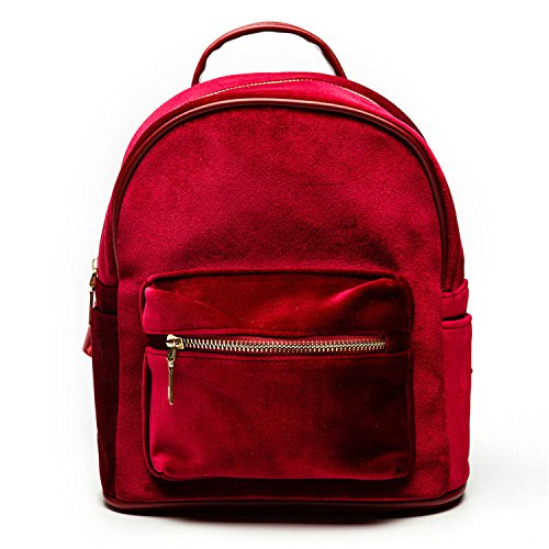 Women Velvet Backpacks Pleuche Casual Style Girls Zipper Bags School Bag for Teenage Girls Red 23x25x12cm