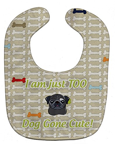 Caroline's Treasures Too Cute Baby Bib, Black Pug, Large -