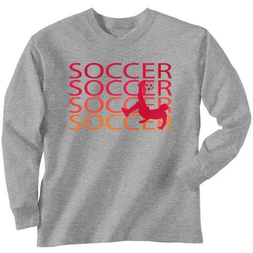 ChalkTalkSPORTS Soccer T-Shirt Long Sleeve - Soccer Fade Youth Medium on Sport Gray