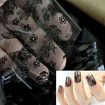 Amazon Alicentertm 3d Black Lace Nail Art Foil Stickers