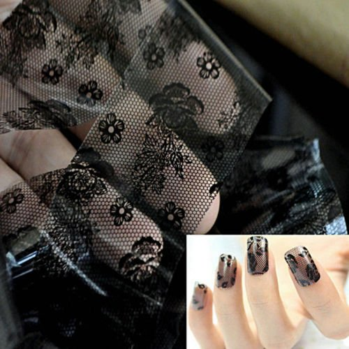 Alicenter(TM) 3D Black Lace Nail Art Foil Stickers Flower Nail Decals Tips Manicure Tool