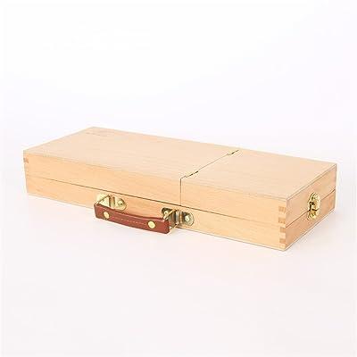 DELLT Boîte de peinture à l'huile en bois portable boîte de peinture à l'huile boîte à outils en hêtre Boîte à outils de peinture à l'huile boîte en bois