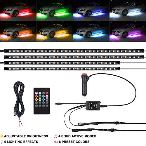 4PCS 8 Colors Car LED Neon Undercar Glow light 12V RGB Underglow Atmosphere Decorative Bar Lights Kit Strip with Sound Active and Wireless Remote Control for Car Exterior