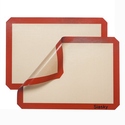 Siasky Silicone Baking Mat - 2 Pack - Professional Grade Cookie Sheets - Nonstick Heat Resistant Premium Baking Sheets - 16 X 12 Inch