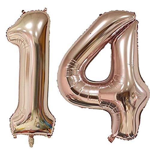 Tellpet Rose Gold Number 14 Balloon, 40 Inch]()