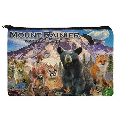 Mount Rainier National Park Washington WA Animals Bear Fox Cougar Deer Wolf Makeup Cosmetic Bag Organizer Pouch