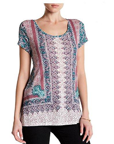 Linen Blend Scarf - Lucky Brand Scarf Print Linen Blend Tee Green Multi Print T Shirt Womens Top size M