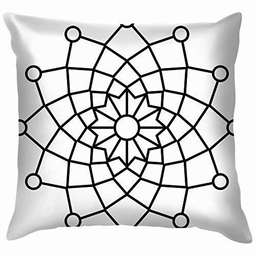 Simple Floral Mandala Easy Doodle Cotton Linen Home Decorative Throw Pillow Case Cushion Cover for Sofa Couch 18X18 Inch]()