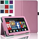 Kindle Fire 1st & 2nd Generation Cover Case - HOTCOOL Slim New PU Leather Case For Amazon Original Kindle Fire 2011 (Previous Generation - 1st) And Kindle Fire 2012 (Previous Generation - 2nd) Tablet(Will not fit HD or HDX models), Pink