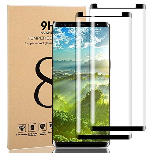 [2 Pack] Galaxy Note 8 Tempered Glass Screen Protector, [HD Clear][Anti-Bubble][Anti-Scratch][Anti-Fingerprint] Tempered Glass Screen Protector For Samsung Galaxy Note 8 Black
