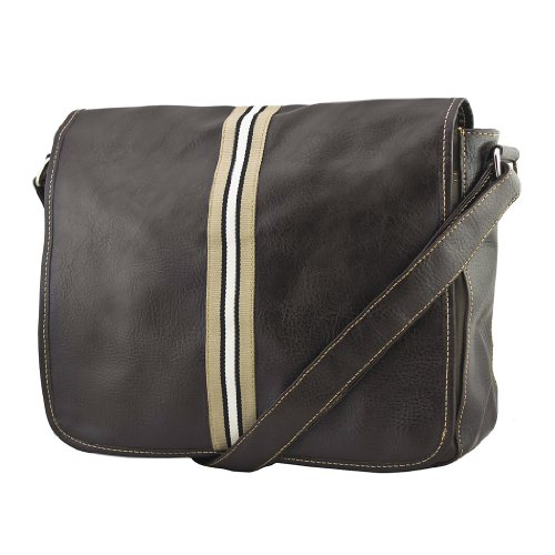 New Leather & Canvas Man's Schoolbag Business Messenger Bag (Brown)