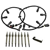 6.0 Powerstroke Glow Plug Connector Wire Harness With 8 Glow Plugs Removal Tool For 2004-2010 Ford 6.0L Diesel, Ford F250 F350 F450 F550 Super Duty(#4C2Z12A690AB, 4C2Z12A690BA, 4C2Z-12A690-AB)