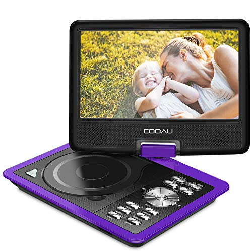 "COOAU 11.5"" Portable DVD Player 5 Hour Rechargeable Battery, Game Joystick, 9.5"" Swivel Screen, Support USB Port SD Card, Region Free, Purple"