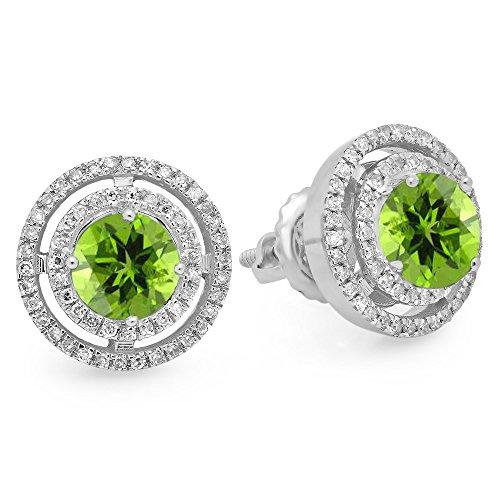 14K White Gold Round Peridot & White Diamond Ladies Halo Style Stud Earrings