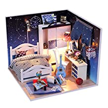 DIY Wooden Dolls house Miniature Kit with Light & All Furniture Star Bedroom
