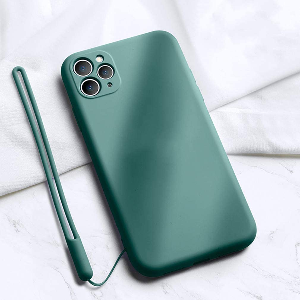 Shockproof Liquid Silicone Case Fit for iPhone 11 Pro Max, Slim Soft Gel Rubber Full Body Cover Drop Protection Bumper Case with Microfiber Lining for Apple iPhone 11 Pro Max 6.5 Inch, Midnight Green