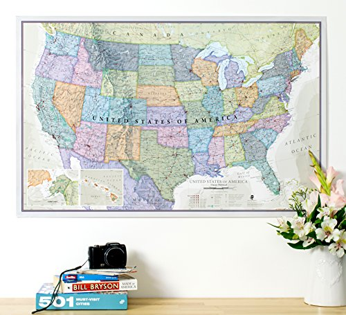 USA Map Classic Print - Front Sheet Lamination Poster - 34 (w) x 22 (h) inches - North America Wall Map