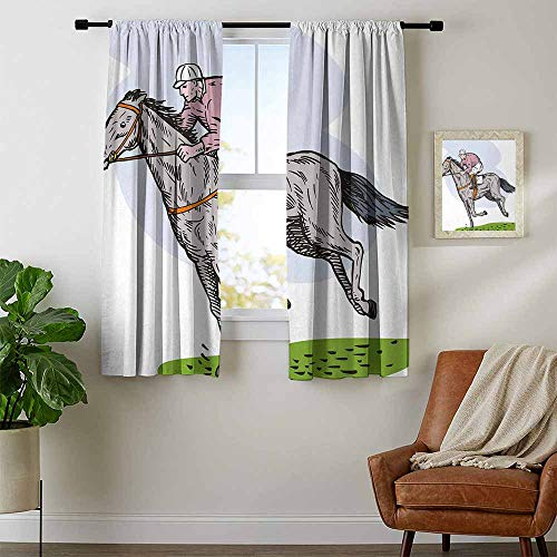 youpinnong Animal, Window Curtain Fabric, Sketchy Horse Racing Theme Jockey Pony Stallion Riding on Field Retro Illustration, Art Prints Window Treatment, W72 x L63 Inch Multicolor