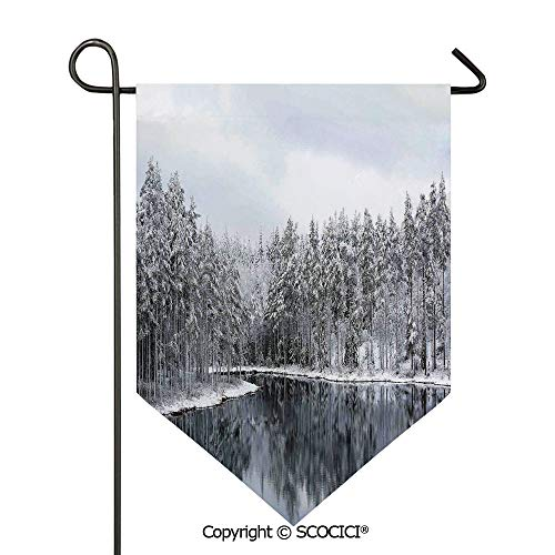 SCOCICI Easy Clean Durable Charming 28x40in Garden Flag Lake Surrounded by Snow Covered Trees on a Cold Winter Day in Finland Reflections, Double Sided Printed,Flag Pole NOT Included ()