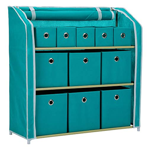 Home-Like 11 Drawer Storage Organizer,Muti-Bin Toy Organizer, 3 Tier Metal Shelves with 11 Removable Fabric Bins, DIY Multi-Purpose Storage Chest Suit for Home Office Bedroom Playroom, Turquoise