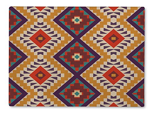 Gear New Glass Cutting Board and Serving Dish, Colorful Aztec Pattern, For Kitchen and Dining, 15x11, - Aztec Glasses