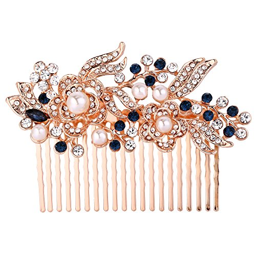EVER FAITH Austrian Crystal Cream Simulated Pearl Flower Leaf Vine Hair Comb Blue Rose Gold-Tone -
