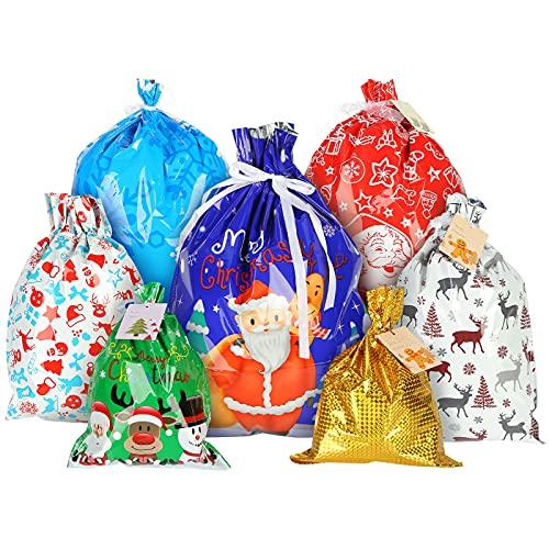 Shindel Christmas Drawstring Gift Bags, 22PCS Gift Wrap Bags Christmas Foil Gift Wrapping Sacks, 7 Styles, 5 Sizes