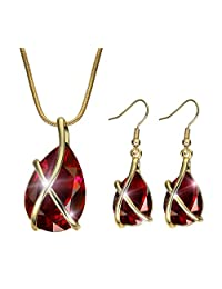 Women's Fashion 18K Swarovski Crystal Teardrop Pendants Two Piece Jewelry Sets Necklace Earring Jewelry Sets for Valentine's Day Gifts(Red)