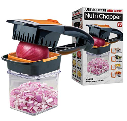Nutrichopper with Fresh-keeping container - Chops, Slices, Cubes, Wedges - Multi-purpose Food Chopper with Stainless Steel Blades As Seen On TV