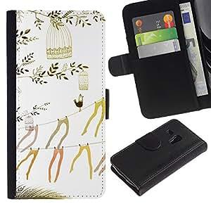 For Samsung Galaxy S3 MINI NOT REGULAR! I8190 I8190N,S-type® Art Beautiful Stockings Minimalist - Dibujo PU billetera de cuero Funda Case Caso de la piel de la bolsa protectora