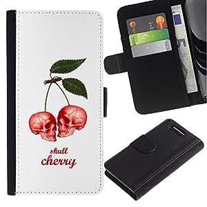 Planetar® Modelo colorido cuero carpeta tirón caso cubierta piel Holster Funda protección Para Sony Xperia Z1 Compact / Z1 Mini / D5503 ( Cherry Skull Berries White Poster )